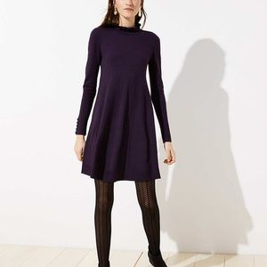 LOFT Ruffle Mock Neck Sweater Dress